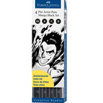 Faber-Castell Pitt Black Wallet Set of 4 Manga Pens - Black