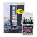 Rendr 5.5x8.5 Hardbound Sketchbook + 3-Pack 9x12 Marker Boards w/ Concept 24 Set