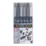 Sakura Koi Brush Pen Set of 6 - Grey