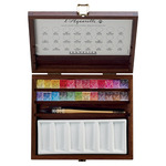 Sennelier Watercolor Half-Pan Set Of 24 in Light Wood Box