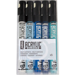 Pebeo Acrylic Marker Set Of 5 White/Black/Cyan/Blue/Night Blue