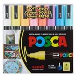 Posca Acrylic Paint Marker 1.8-2.5mm Medium Tip Soft Colors Set of 8