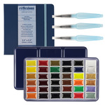 E-Z Lift 36 Whole-pan Watercolors Beginner Set, Brush Pens & Journal Combo