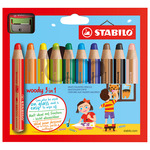 Stabilo Woody Colored Pencil Set of 18 w/ Sharpener