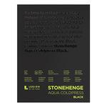 """Stonehenge Black Aqua Watercolor 9X12"""" 140lb Cold-Press Pad 15-Sheets"""