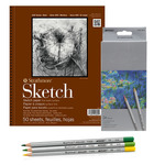 "Strathmore 400 Series 9x12"" Sketch Pad Set, 24 Colored Pencils"