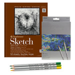 "Strathmore 400 Series 9x12"" Sketch Pad Set, 36 Colored Pencils"