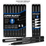 Super Black Permanent Fineliner Pen Sets by Creative Mark