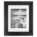"""Valentina Frames Black Leather 2"""" Frame with Glass and Mat 11x14"""" (w/ 8x10"""" Mat)"""
