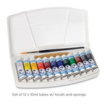 Van Gogh Watercolor Pocket Box Set of 12 10ml Tubes with Brush and Sponge